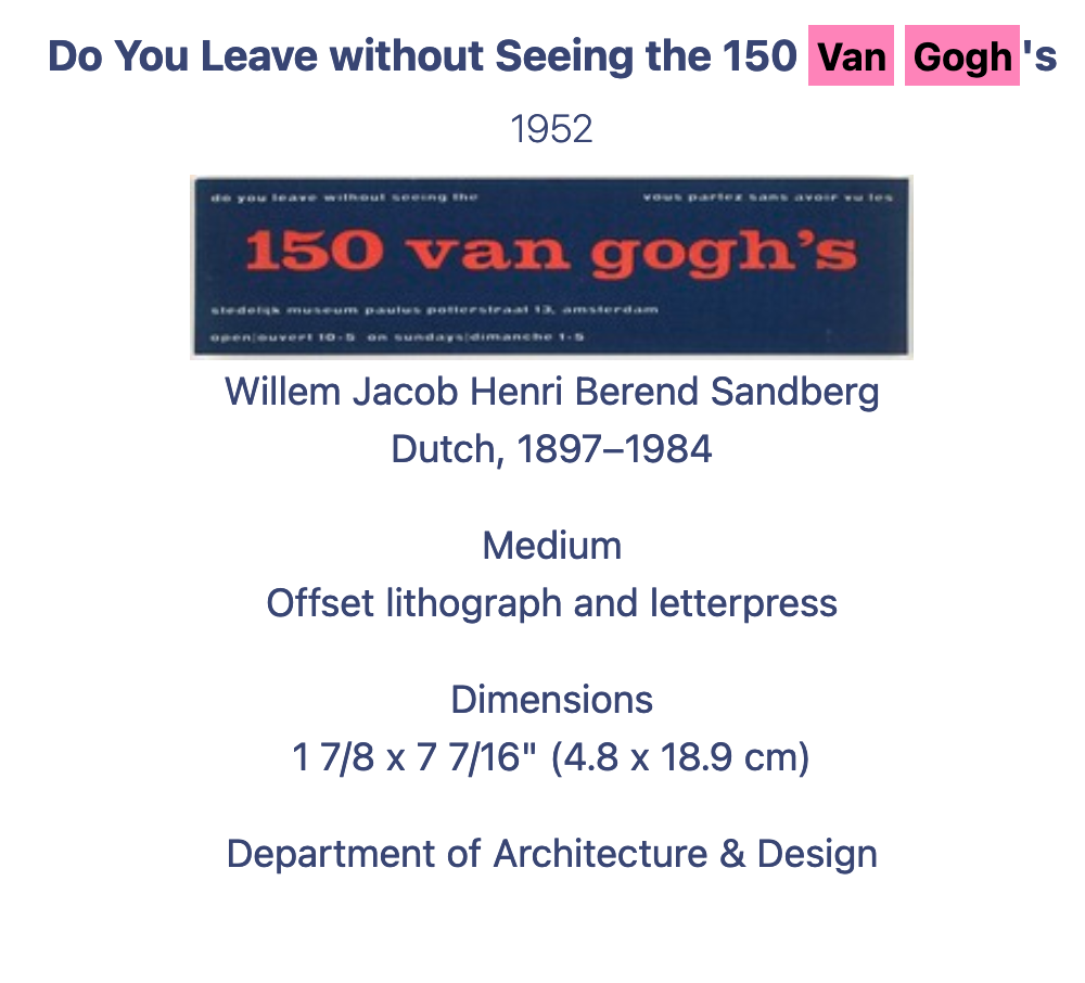"Information and image of a litograph called ""Do You Leave without seeing the 150 Van Gogh's"" by Willem Jacob Henri Berend Sandberg"