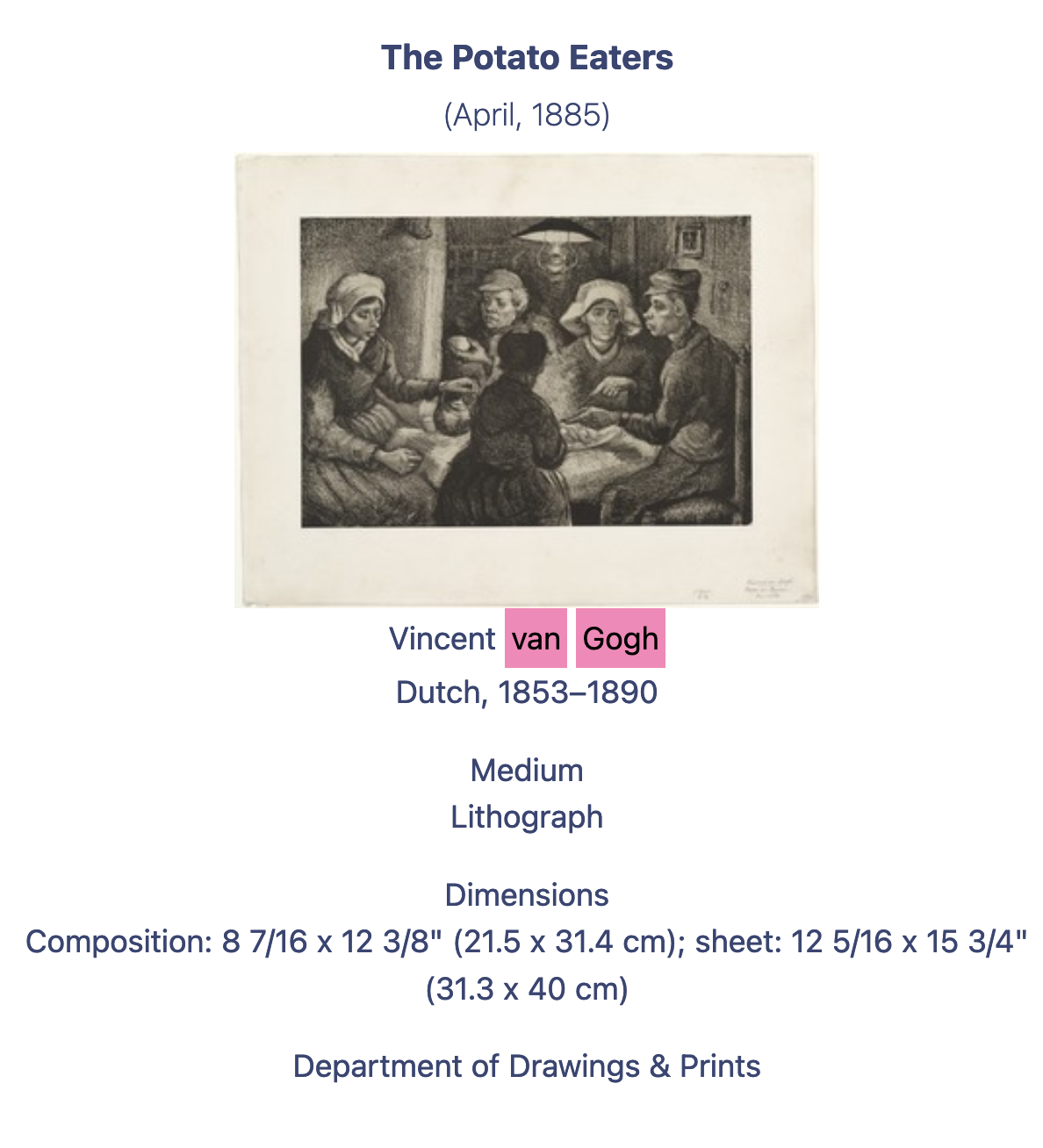 "Information and image of the litograph ""The Potato Eaters"" by Vincent van Gogh"